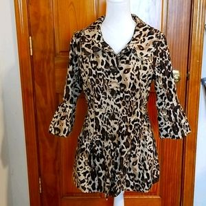 Eden Court Lepard Print Fitted Flare Trench Coat
